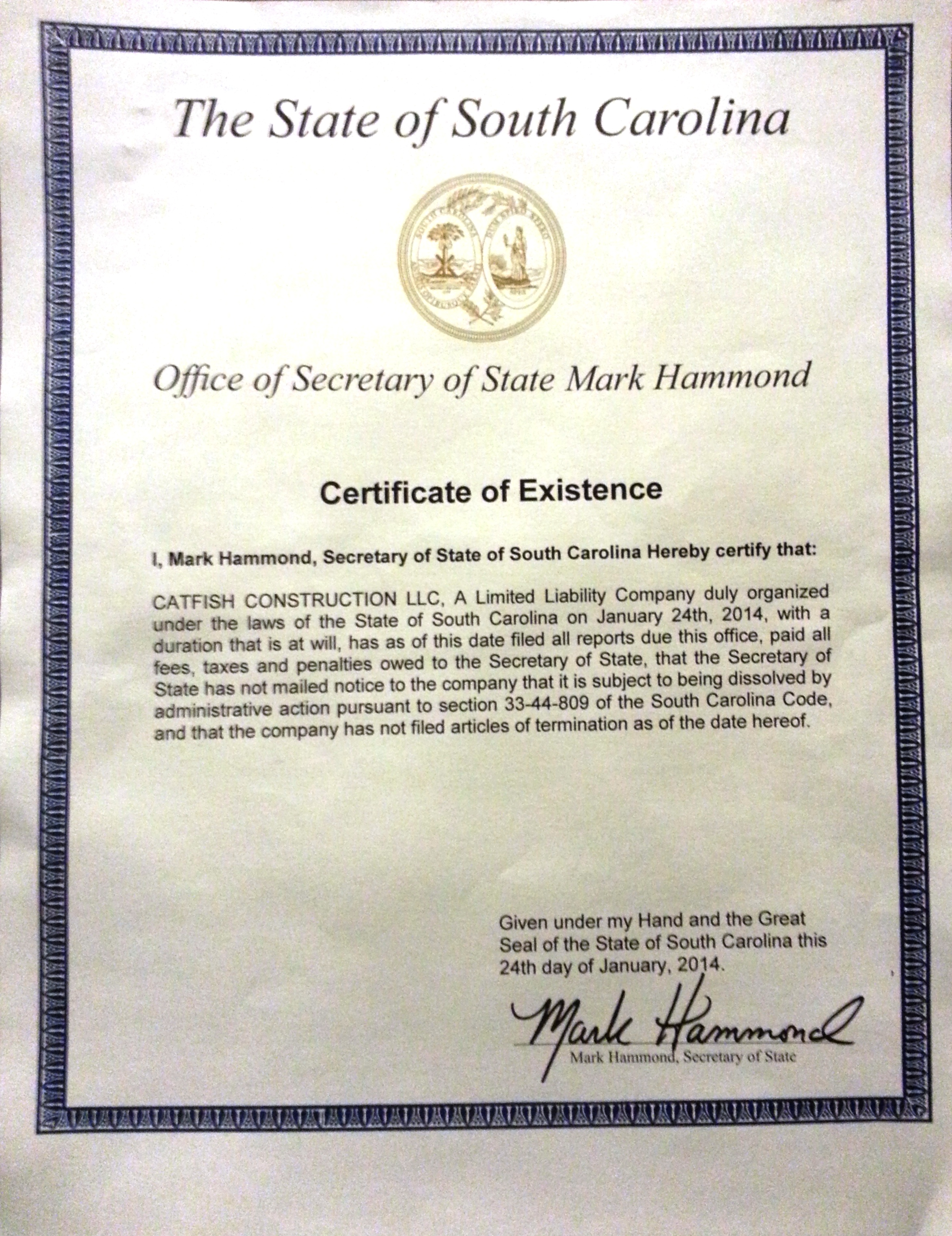 About catfish construction llc llc certificate of existence business and professional license 1betcityfo Gallery